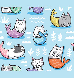 Seamless pattern with cats mermaid in kawaii style vector
