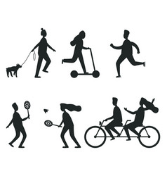 set of black silhouettes of people having fun vector image