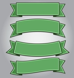 Set of green ribbon banners vector image