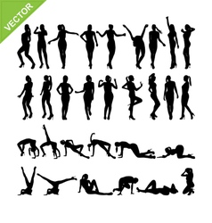 Sexy women and dancing silhouettes set 14 vector