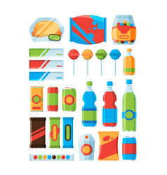 Snack fast food soda drinks chips nuts chocolate vector