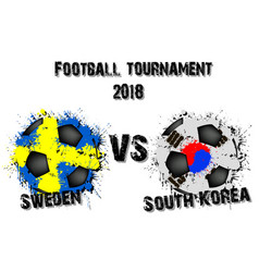 soccer game sweden vs south korea vector image