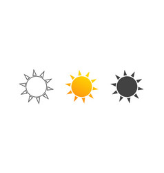 sun icon sun set symbol sun icons in flat and vector image