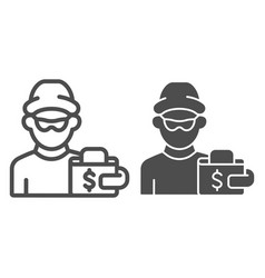 Thief and wallet line and glyph icon crime vector