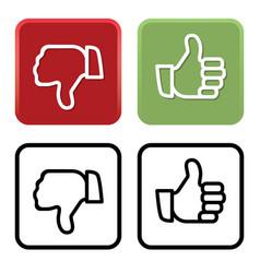 thumbs up and down like and dislike vector image