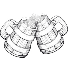 Two Beer wooden mugs vector image