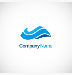 wave blue water company logo vector image