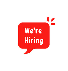We are hiring on red bubble vector