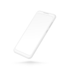 white smartphone mockup realistic 3d cellphone vector image