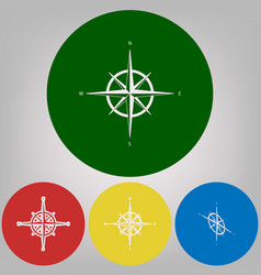 wind rose sign 4 white styles of icon at vector image