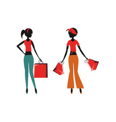 women silhouette retro style with shopping bags vector image