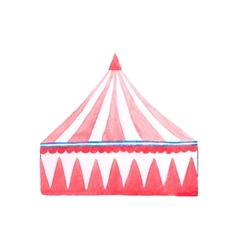 Circus tent Watercolor red and white tent on the vector image