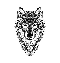 Dotwork tattoo design stylized Wolf face Hand vector image