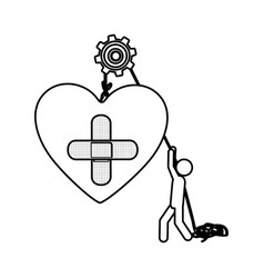 Silhouette worker with pulley holding heart band vector