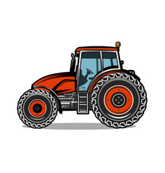 black tractor on white background vector image