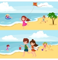 Fun at beach Happy kids plaing sand around water vector image
