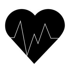 Heart and cardiogram icon vector