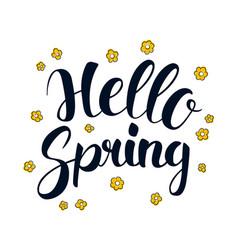 hello spring calligraphy season banner design vector image vector image