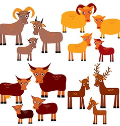 Set of funny animals with cubs Goats sheep cows vector image vector image