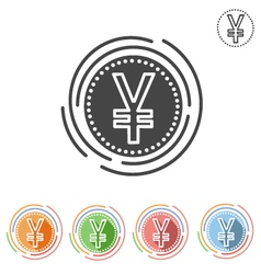 Yen sign insulated flat icon vector