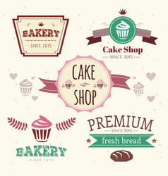 Abstract cake vintage logo elements set vector