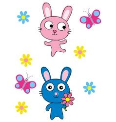 cute bunnies vector image