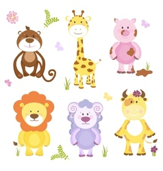 Cute cartoon animal set vector image vector image