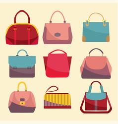 fashion bags set icon vector image