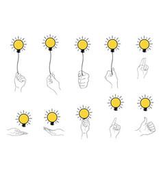 hand holding light bulb set on white background vector image vector image