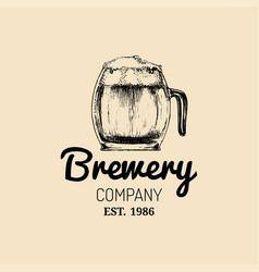 kraft beer mug logo lager cup retro sign hand vector image