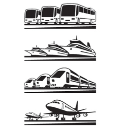 Passenger transportation vehicles vector image vector image