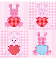 pink rabbits cards vector image vector image
