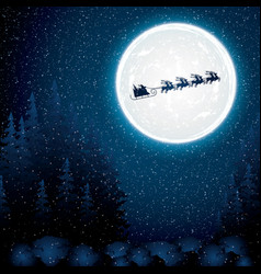 santa claus rides in a reindeer sleigh vector image