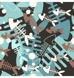 Seamless skeleton fish vector image