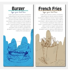 Banners of fast food design with french fries and vector image