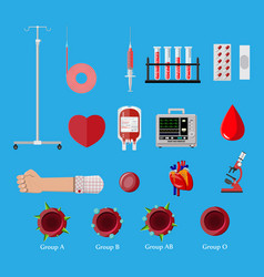 blood donation day set human donates blood vector image