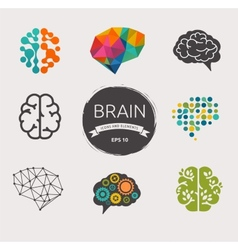 Collection of brain creation idea icons and vector image vector image