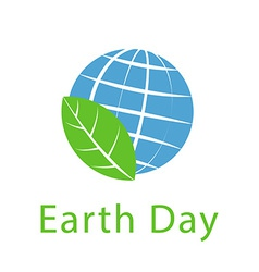 Globe and leaf Earth day icon ecology logo vector image