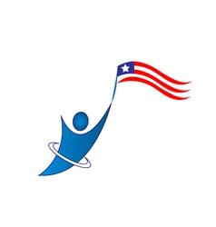 Happy patriotic man logo vector image
