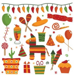 Mexican party objects vector image vector image
