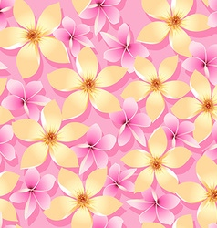 Pink and orange tropical flowers seamless pattern vector image