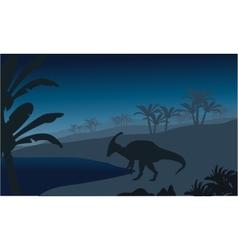 Silhouette of single parasaurolophus vector image vector image