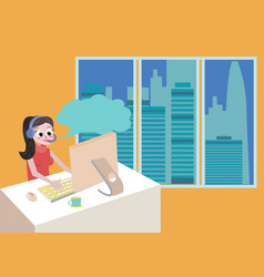 technical girl support by phone woman with headset vector image
