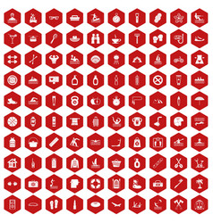 100 human health icons hexagon red vector
