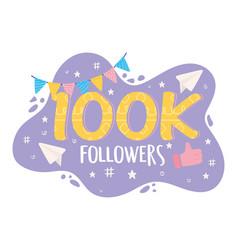 100k followers card vector