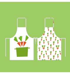 aprons in the pattern of carrots with a pan vector image