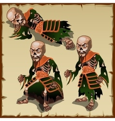 Asian zombies in different physical postures vector