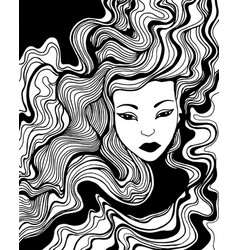 black and white girl with waves hair coloring page vector image