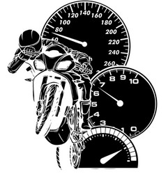 Black silhouette motorbike with rider vector