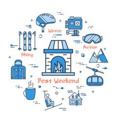 blue best weekend mountain concept vector image